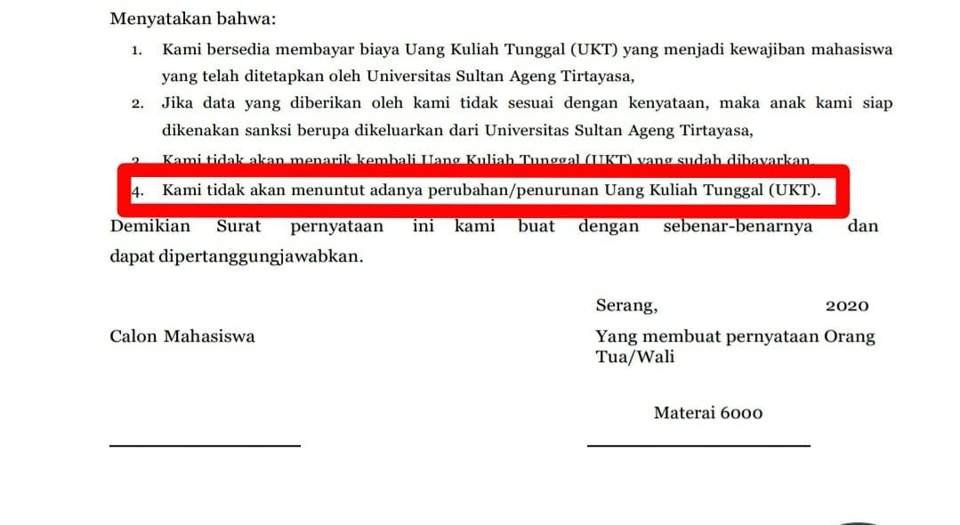 Salah satu poin bermasalah pada pakta integritas UKT Untirta